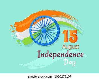 15 August Indian Independence Day greeting  poster in graphic design with colorful national flag and inscription on azure background