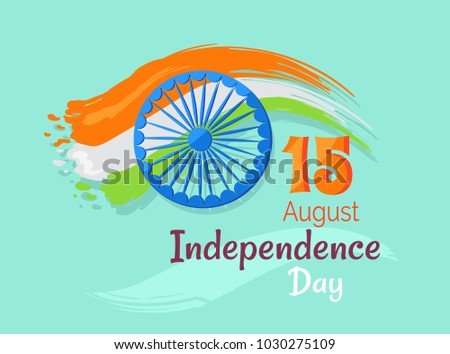 15 August Indian Independence Day Greeting Stock Illustration