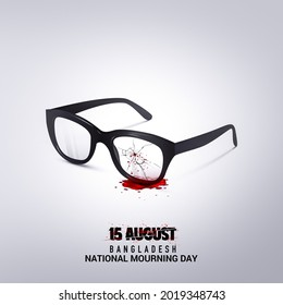 15 August, National Mourning Day in Bangladesh. Father of the Nation in Bangladesh. Sunglasses crack with blood isolate view white background. 45th Death Anniversary. 3D illustration. History 1975.