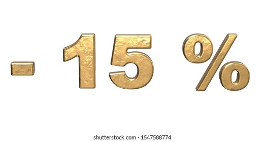 15% of discount. Golden fifteen percent sale. 3d render isolated on white background