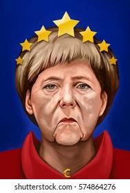 15 January 2017 - Ayvalik, Turkey: European Union and Chancellor of Germany Angela Dorothea Merkel themed Cartoon Portrait. Illustrated in Turkey by Erkan Atay.
