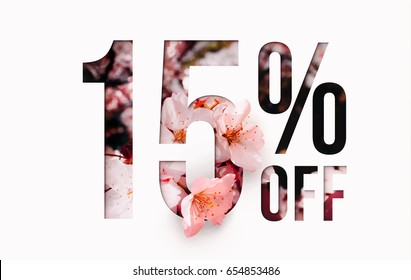 15% off discount promotion sale Brilliant poster, banner, ads. Precious Paper cut with real sakura flowers and leaves. For your unique selling poster / banner promotion offer percent discount ads.