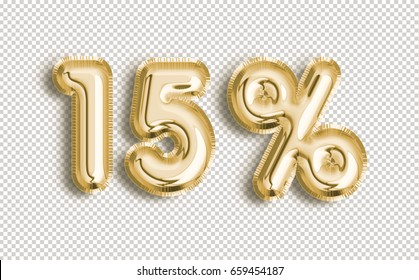 15% off discount promotion sale made of realistic 3d Gold helium balloons with Clipping Path. Illustration of balloon percent discount collection for your unique selling poster, banner, discount, ads.