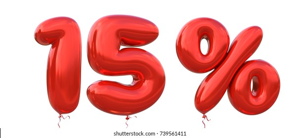 15% off discount promotion sale made of realistic 3d Red helium balloons. Illustration of balloon percent discount collection for your unique selling poster, banner ads ; Christmas, Xmas sale and more