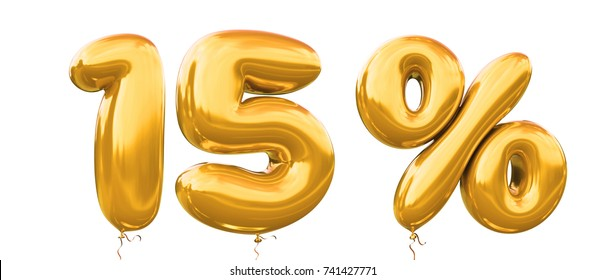 15% off discount promotion sale made of realistic 3d gold helium balloons. Illustration of balloon percent discount collection for your unique selling poster,banner ads ; Christmas, Xmas sale and more