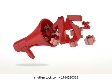 15% off discount, red number ten. Promotion concept with red megaphone and gift boxes. 3D Render