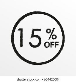 15% off. Sale and discount price icon. Sales tag design template.