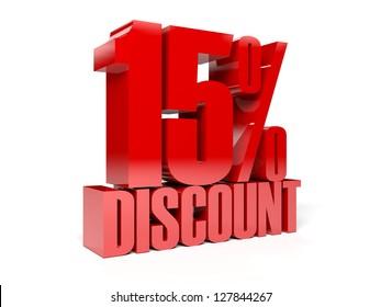 15 percent discount. Concept 3D illustration.