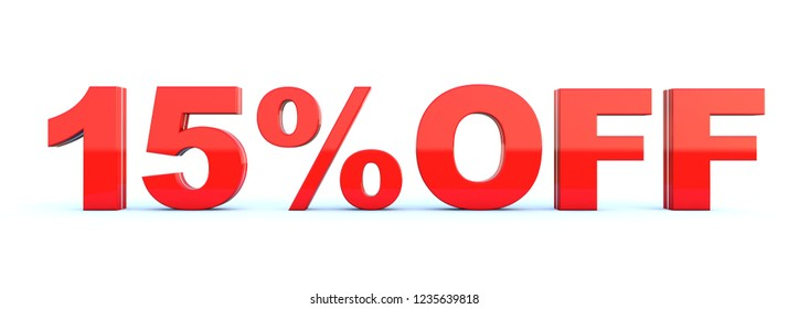 15 percent off discount - glossy red text on white background wide banner 3D render