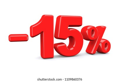 15 percent off discount sign. Red text is isolated on white. 3d render