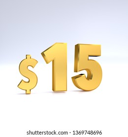 15$ price symbol. gold text 3d  render with dollar sign on white background