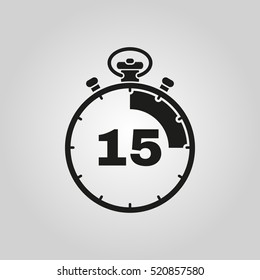 The 15 seconds, minutes stopwatch icon. Clock and watch, timer, countdown symbol. UI. Web. Logo Sign Flat design App Stock