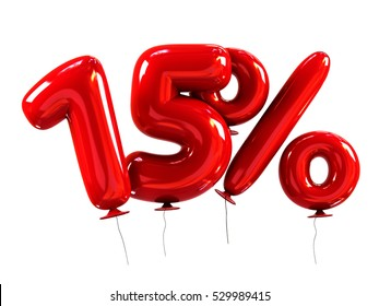 15% template Made Of Red Balloons. Sale Concept. 3d Rendering Isolated on White Background.