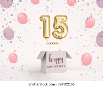 15 years anniversary, happy birthday joy celebration. 3d Illustration with brilliant gold balloons & delight confetti for your unique greeting card, banner, birthday invitation, celebrate anniversary.