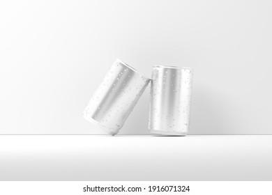 150ml Soda Can White Blank 3D Rendering Mockup