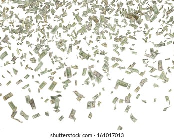 1,5,10,20,50,100 flying dollar bills, isolated on white.