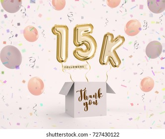 15k, 15000 followers thank you with gold balloons and colorful confetti. Illustration 3d render for social network friends, followers, web user Thank you celebrate of subscriber, followers, likes