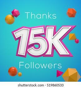 15K likes online social media thank you banner. 3D rendering