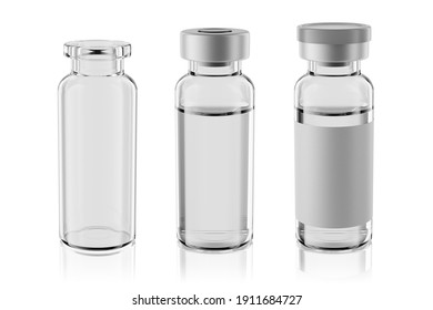 15R vaccine clear glass injection vials set isolated on white background. 3d rendering mockup.