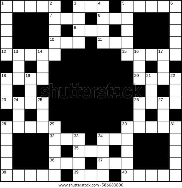 15x15 Squares Empty Britishstyle Crossword Grid Stock