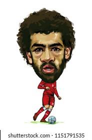 16 July 2018 Buriram  Thailand : Mohammed Salah Gabriel, professional Egyptian national footballer,Caricature vector design on white background