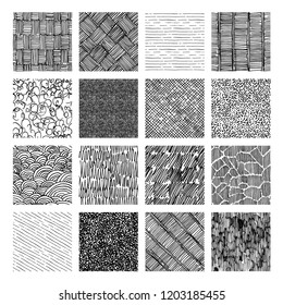 16 Seamless pattern of ink hand drawn grunge texture. Linear hatching, crosshatchin, stippling, scumbling and others.