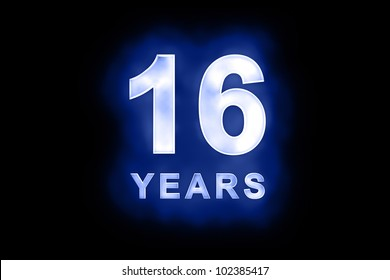 16 Years in glowing white numbers and text with a mottled patterning on blue background suitable for a birthday, celebration or anniversary