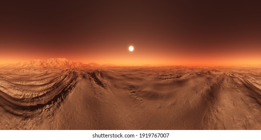 16K, sunrise on a Mars, the red planet, landscape in a 360 HDRI spherical panorama for 3D illustration environments.