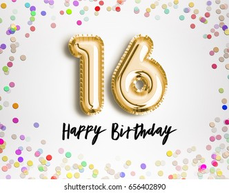 16th Birthday celebration with gold balloons and colorful confetti, glitters. 3d Illustration design for your greeting card, birthday invitation and Celebration party of sixteen years anniversary.
