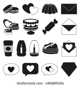 17 black and white romantic food elements. Love date invitation decor Valentine themed illustration for icon, stamp, label, certificate, brochure, gift card, poster or banner decoration
