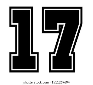 17 Classic Vintage Sport Jersey / Uniform numbers in black with a black outside contour line number on white background for American football, Baseball and Basketball or soccer for shirt