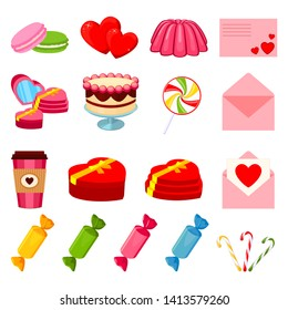 17 colorful cartoon romantic food elements. Love date invitation decor Valentine themed illustration for icon, stamp, label, certificate, brochure, gift card, poster or banner decoration