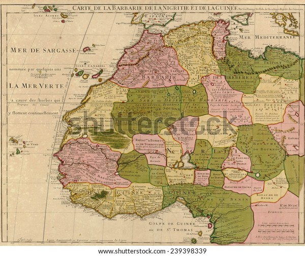 Map Of Africa French.1707 French Map Northwest Africa Identifying Stock Illustration