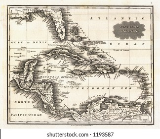 1799 Antique Map of West Indies and Caribbean Sea