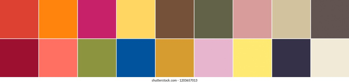 18 colors of the season spring summer 2019 palette. Top 14 + 4 neutrals. Fashionable colors concept