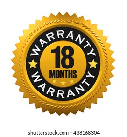 18 Months Warranty Sign. 3D rendering
