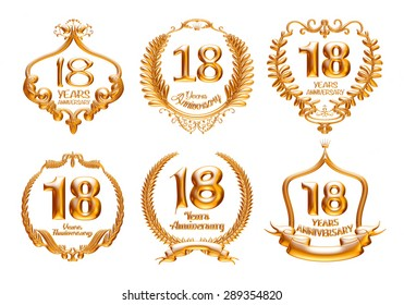 18 Years Anniversary golden label set with ribbon. 3D illustration.