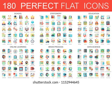 180  complex flat icons concept symbols of school, stationery, education, online learning, brain process, data science icons. Web infographic icon design.
