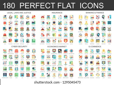 180  complex flat icons concept symbols of legal, laws and justice, insurance, banking finance, cyber security, economics market, e-commerce. Web infographic icon design.