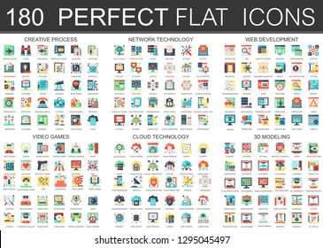180  complex flat icons concept symbols of creative process, network technology, web development, video games, cloud technology, 3d modeling. Web infographic icon design.