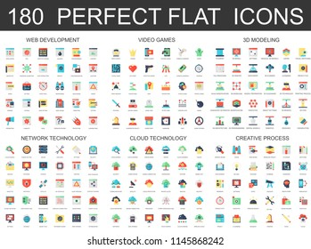 180 modern flat icons set of web development, video games, 3d modeling, network cloud technology, creative process icons.