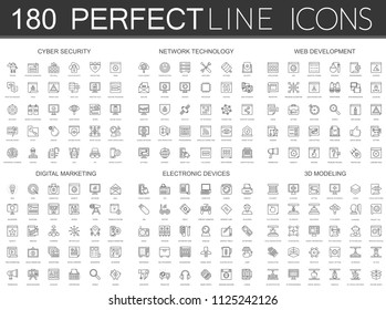 180 modern thin line icons set of cyber security, network technology, web development, digital marketing, electronic devices, 3d modeling.
