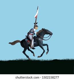 1800's Crimean war, British cavalry on a horse charging. Original illustration.