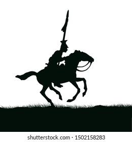 1800's Crimean war, British cavalry on a horse charging. Original illustration silhouette