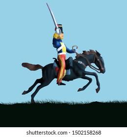 1800's Crimean war, British hussar cavalry on a horse charging. Original illustration.