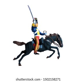 1800's Crimean war, British hussar cavalry on a horse charging. Original illustration with white background
