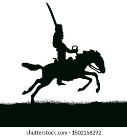 1800's Crimean war, British hussar cavalry on a horse charging. Original illustration.silhouette