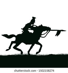 1800's Crimean war, British lancer cavalry on a horse charging. Original illustration silhouette