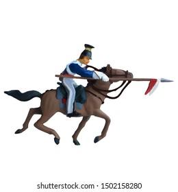 1800's Crimean war, British lancer cavalry on a horse charging. Original illustration with white background