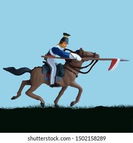 1800's Crimean war, British lancer cavalry on a horse charging. Original illustration.